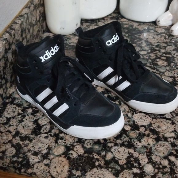 Details about Adidas Neo Boys High Top Sneakers Grey & White Size 1Youth